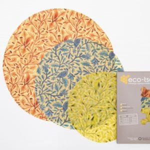 Eco-tsapi – Emballage à la cire d'abeille ROND – Assortiment de 3 pièces (S, M et L)