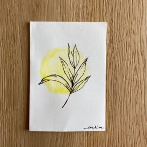 Carte de voeux – Feuille jaune