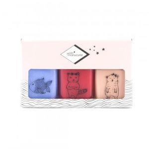 Petite Manucurist – Coffret de 3 vernis à l'eau pour enfants – Bleu pailleté, rose pâle pailleté et rose