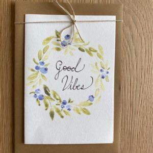 Carte de voeux – Good Vibes – Couronne myrtilles