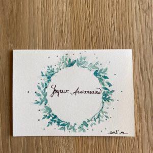 Carte de voeux – Joyeux Anniversaire – Couronne verte