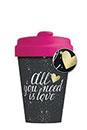 Mug/Thermos en bambou 400 ml – All you need is love noir