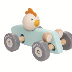 PlanToys – Poussin en voiture – Bleu pastel