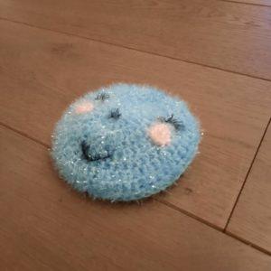 Eponge lavable Smiley – Crochetée à la main – Bleu
