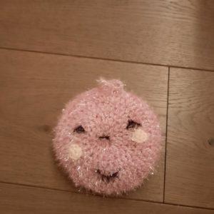 Eponge lavable smiley – Crochetée à la main – Rose
