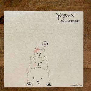 Carte de voeux – Joyeux Anniversaire – 3 ours