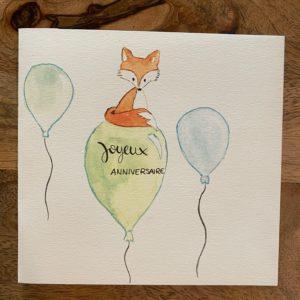 Carte de voeux – Joyeux Anniversaire – Renard sur ballon