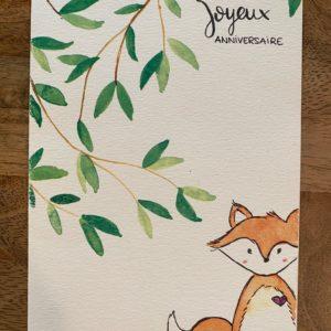 Carte de voeux – Joyeux Anniversaire – Renard et feuilles