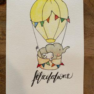 Carte de voeux – Félicitations – Eléphant montgolfière
