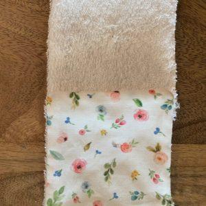 LutryNature – Lingette démaquillante coton et éponge – Fleurs/Blanche