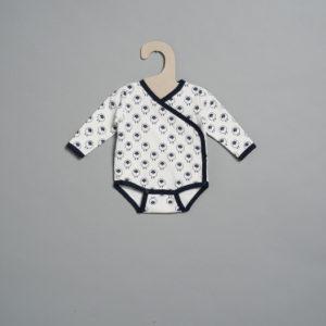 L'asticot – Body en coton BIO – Moutons blancs – 1 mois