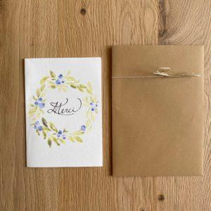 Carte de voeux – Merci – Couronne myrtille