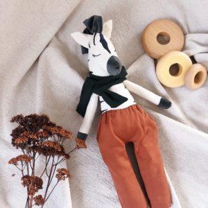 Atelier Maurice – Doudou zèbre fait main – Garçon