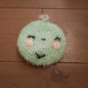 Eponge lavable smiley – Crochetée à la main – Vert menthe