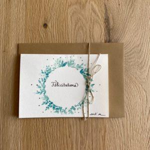 Carte de voeux – Félicitations – Couronne verte