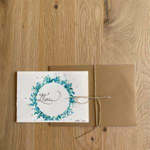 Carte de voeux – Merci – Couronne verte