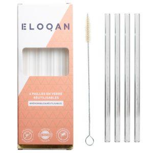 Eloqan – 4 Pailles en verre + brosse – 20cm(pack feu)