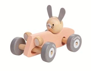 PlanToys – Lapin en voiture – Pastel