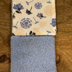 LutryNature – Lingette démaquillante coton et éponge – Pissenlit/Bleue