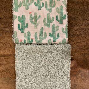 LutryNature – Lingette démaquillante coton et éponge – Cactus/Verte