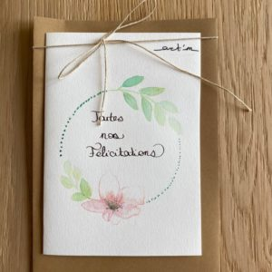 Carte de voeux – Toutes nos félicitations – Couronne  florale