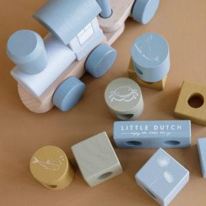 Little Dutch – Train en bois à blocs – Bleu